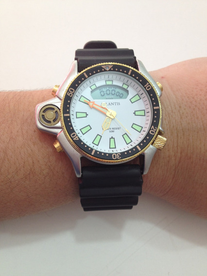 Relógio Atlantis Masculino Aqualand G3220 Prateado/borracha