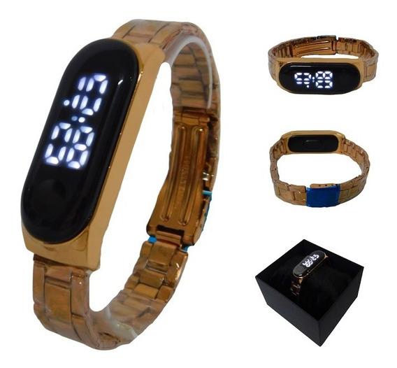 Relógio Feminino Masculino Led Digital Rosê Unissex + Caixa