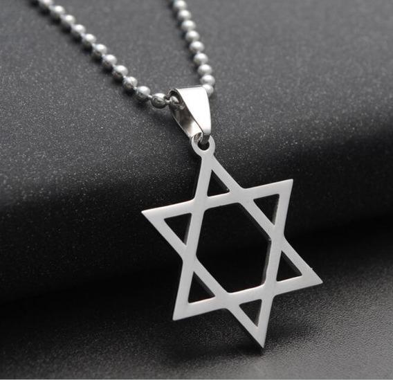Colar Estrela De Davi Judaica Hexagrama Cordão