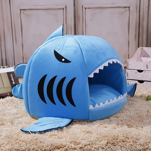 Cama Para Mascotas En Forma De Tiburon - Color Gris Y Azul