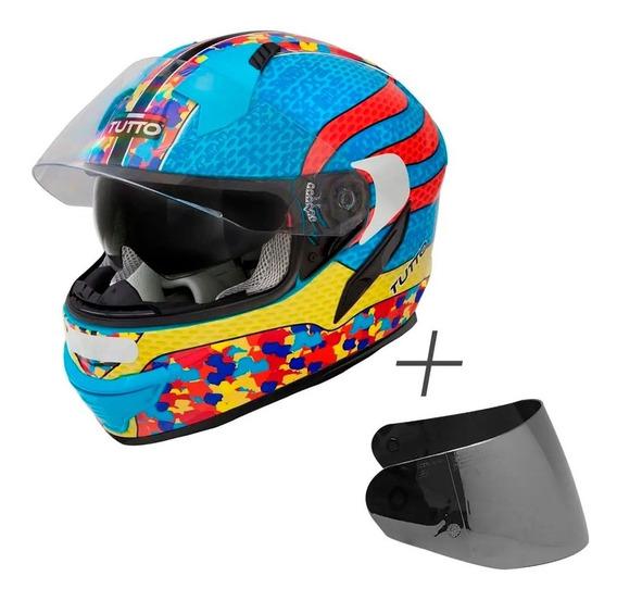 Capacete Tutto Moto Multicolore C/ Vs E Viseira Prata