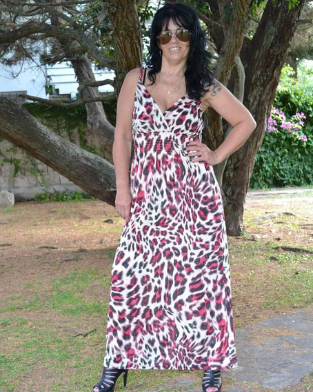 Vestido Largo De Seda Fria Animal Print Modelos La Plata