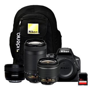 Cámara Nikon D3500 + Lentes 18-55mm + 70-300mm + 50mm + 32gb