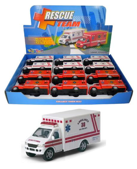 Miniatura Ambulância Colecionável Escala 1:34 Kit Com 4