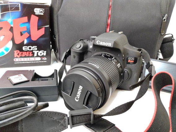 Câmera Canon T6i + Cartão 32gb Classe 10 + Bolsa