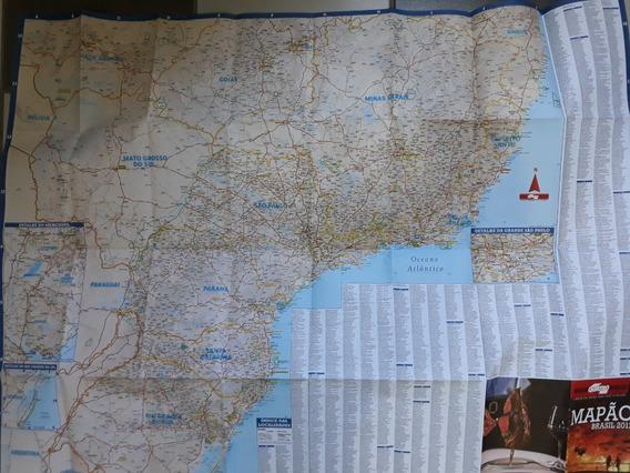 Kit Mapa Rodoviario Brasil (mapão) + Guia Quatro 4 Rodas