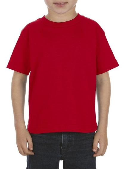 Paquete De 10 Playeras Para Niño Talla 4 A 7 Color Rojo