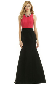 Carolina Herrera Just Imagine Vestido Gala Cola Negro Rosa