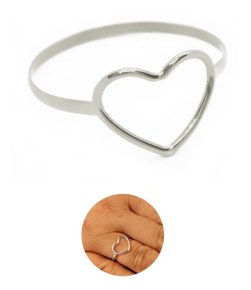 Promoção Anel Coração Em Prata 925 Feminino Reforçado