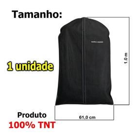 Porta Terno, Roupa, 100% Tnt, C/ziper - Preto -