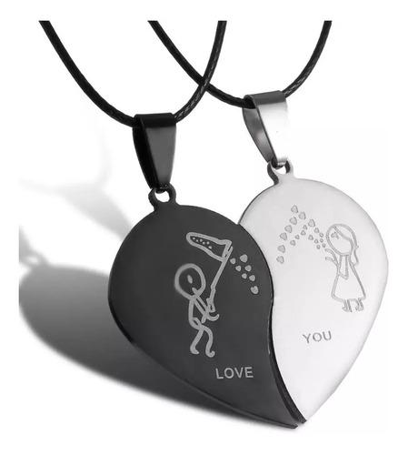 Collar Pareja Corazón Acero Inox Regalo Novios San Valentín