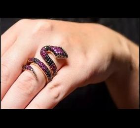 Anel Serpente De Ouro 18k/750 Mais Diamantes An102vivarjo