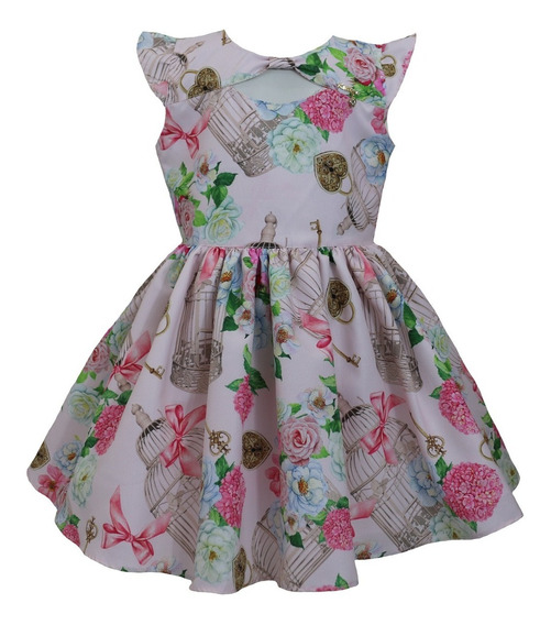 Vestido Infantil Tam: 1 Ao 4 Gaiola Rosa Katitus 1470