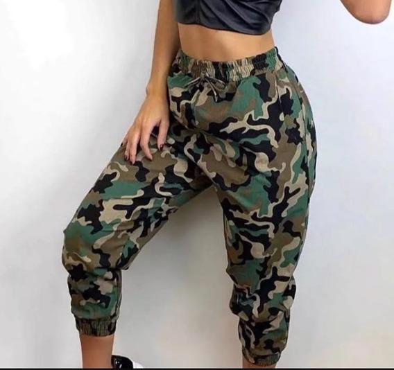 Calça Jogger Camuflada Militar Bengaline Moda Feminina