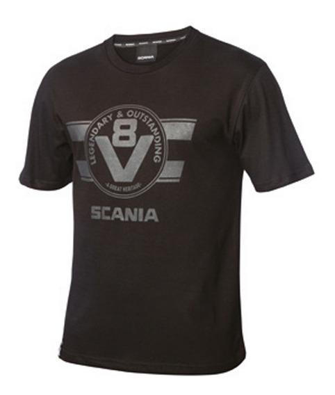Remera Negra Mangas Cortas Grifin V8 Scania