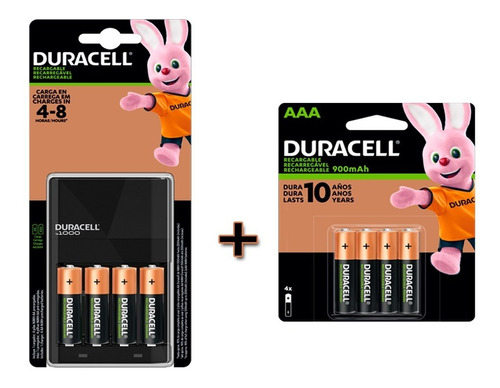 Imagen 1 de 4 de Kit Duracell Cargador Con 4 Pilas Aa +4 Pilas Aaa
