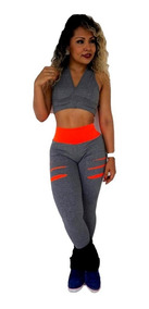 Kit 12 Pçs Calça Legging Suplex Fitness Academia +top Brinde