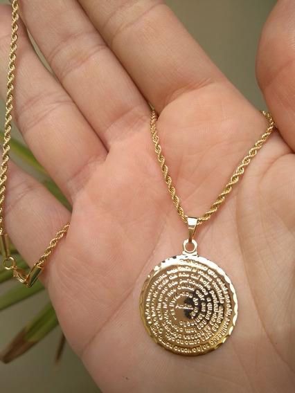 Colar 45cm 2mm Pai Nosso Medalha Média 2,5cm Banho Ouro 18k