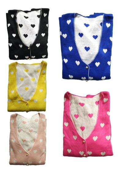 Kit 03 Casacos De Lã Blusas Botões Estampas Cardigã Feminino