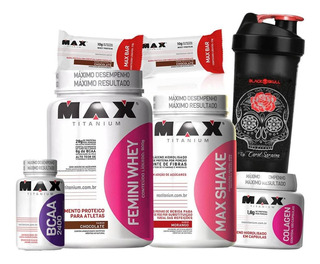 Combo Kit De Suplementos Whey Protein + Shake + Bcaa + Colágeno Max