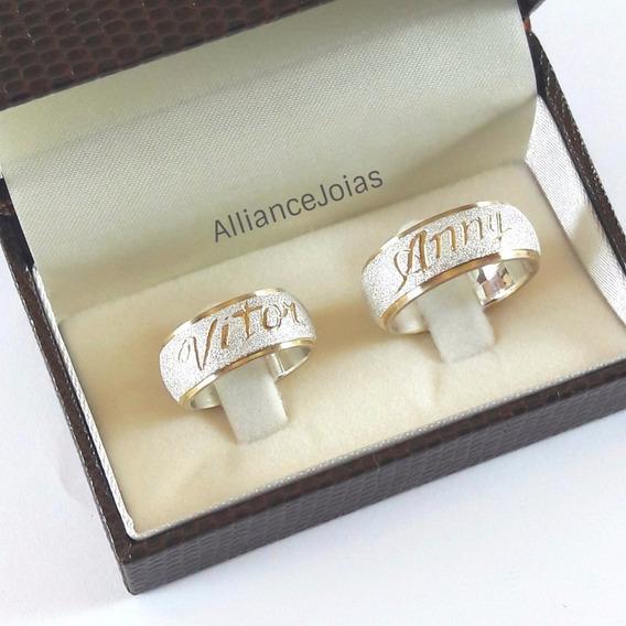 Aliança Compromisso Namoro Em Prata 950 10mm Diamantada Par