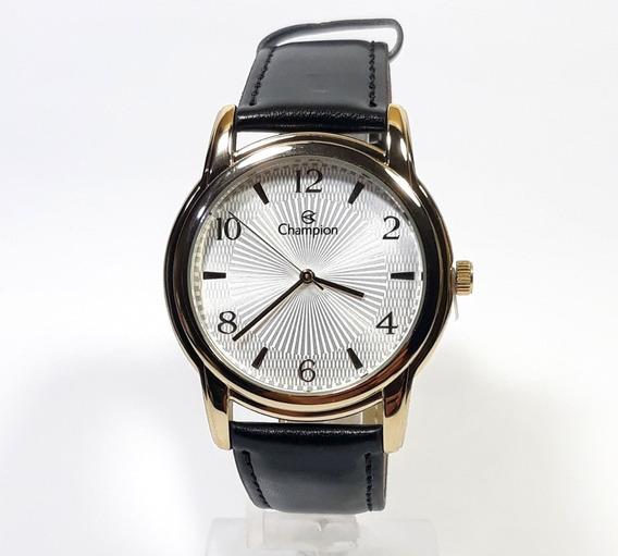 Relógio Masculino Champion Ch22840b Dourado Pulseira Couro