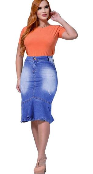 Saia Jeans Com Babado Na Frente Evangélica Roupa Femininas