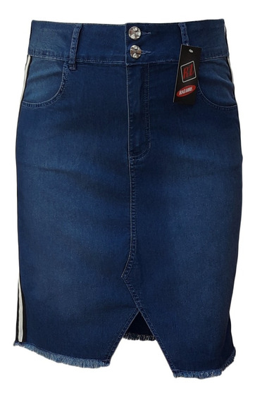 Saia Jeans Evangélica Com Fenda E Listra Plus Size 44 Ao 60