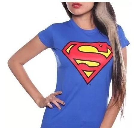 Playera Blusa Superman Logo Original Dc Comics Corte Dama