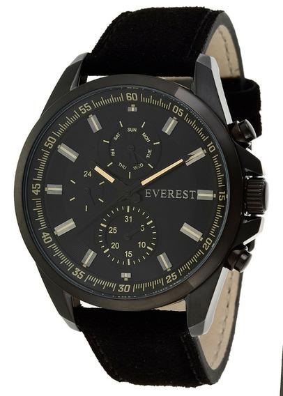 Relógios Masculinos Everest Pulseira Couro Preto Garantia