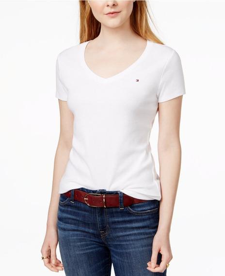 Remera Blanca Tommy Hilfiger ® Escote V M/corta Mujer