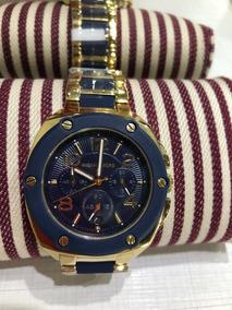 Relógio Em Pulseira Dourada Com Detalhes Azul Marinho