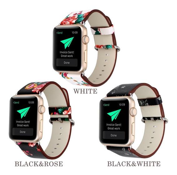 Correa De Piel Flowers Apple Watch Serie 4 40 44mm + Regalo