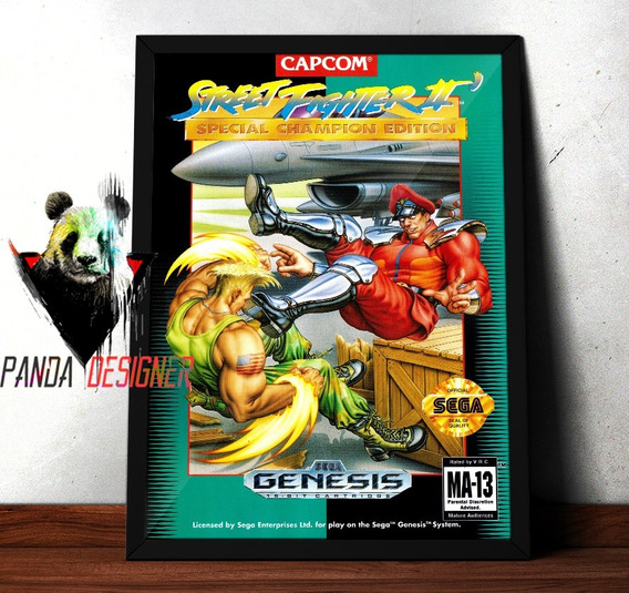 Quadro Street Fighter Bizon Vs Guile Nintendo Game Retro
