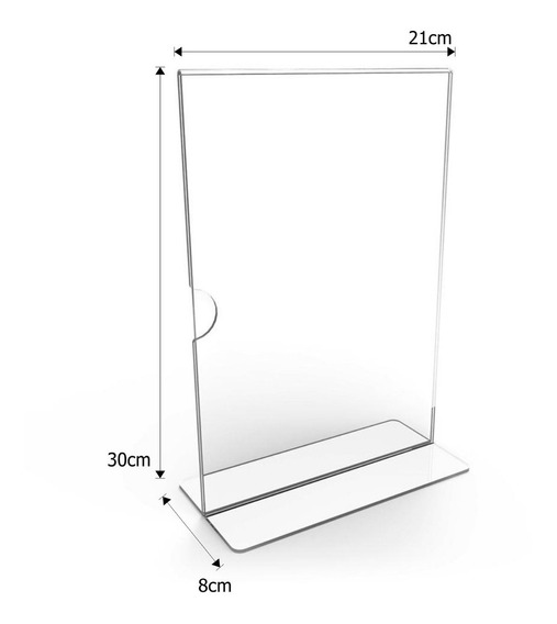 Display Expositor Em T Tamanho A4 Acrílico Ps Cristal - 5un.