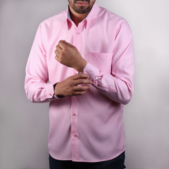 Camisa Paolo Rosa Cuadro Comfort Fit Algodón Envío Gratis