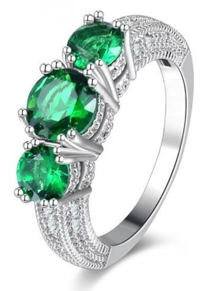 Anel Lindo Prateado Pedra Verde Esmeralda Promoção De Hoje