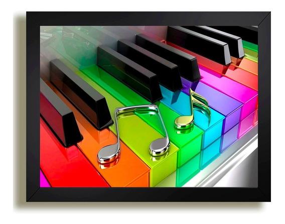 Quadro Musica Teclado Colorido Piano Notas Banda Gab Decora