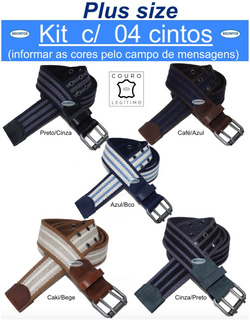 Kit 4 Cintos Plus Size Lona Premium Listrada Couro 4cm L39sl