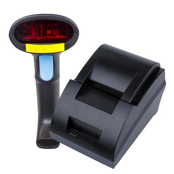 Impressora Portátil + Leitor De Código De Barras Com Fio