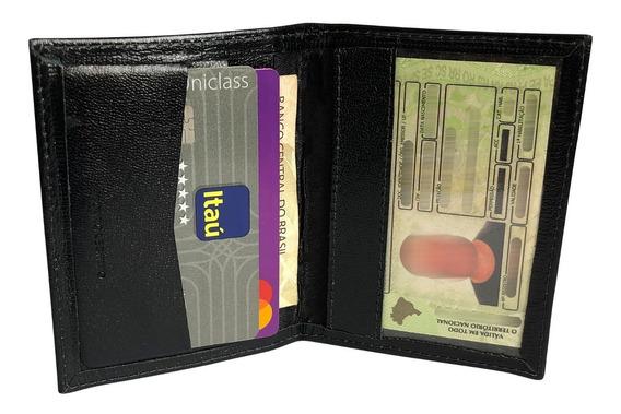 Carteira Masculina Slim Wstoro - Couro Legítimo Cnh + Cartão