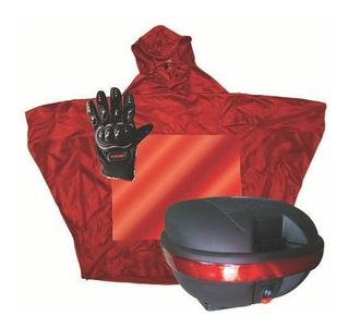 Paquete Caja Para Moto 31 Lts, Guantes E Impermeable Mikels