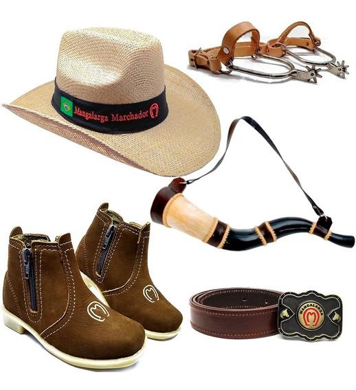 Kit Infantil Botina Country + Cinto + Chapeu Cowboy + Espora