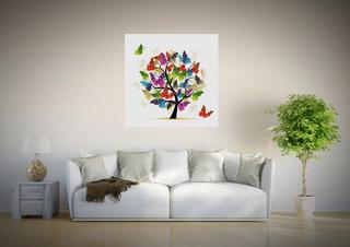 Canvas Cuadro Moderno Arbol De Colores Con Mariposas