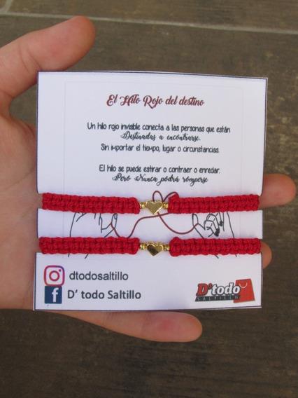 Dúo De Pulseras Hilo Rojo Del Destino Chapa De Oro 18k