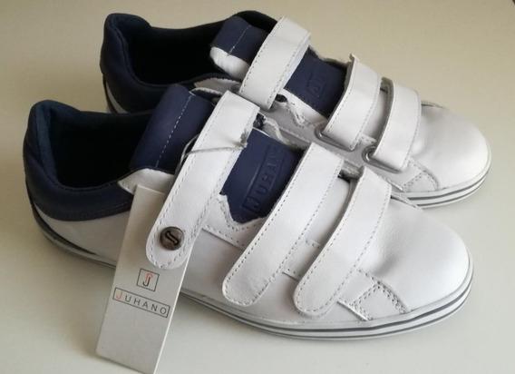 Zapatillas De Cuero Blanco Y Abrojos Velcro - Juhano