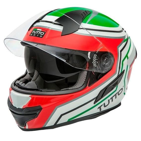 Capacete Tutto Racing (c/ Viseira Solar) Verde/vermelho Rs1