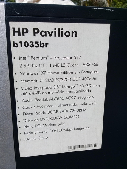 Cpu Hp Pavilion - Windows Xp - 512 Mb