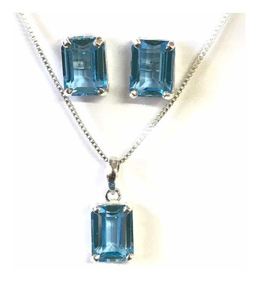 Conjunto Topazio Azul Natural Baguete 6x8 Mm Prata 925ml (r)
