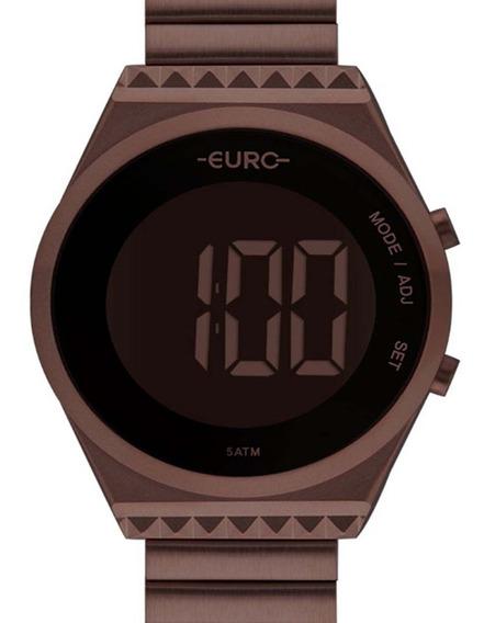 Relógio Chocolate Euro Feminino Digital Slim Eubjt016af/4m